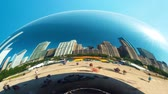 editorial : CHICAGO - SEPT. 18th 2018: Tourists visit the Cloud Gate, a public sculpture in Millennium Park in time-lapse. Stock Footage