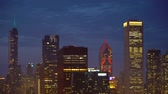 CHICAGO - SEPTEMBER 18th 2018: Downtown Chicago cityscape at twilight coming into focus
