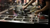 frypan : Washing pan in a fast food restaurant Stock Footage