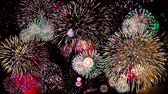 Colorful fireworks at holiday night 4k.