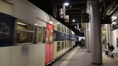 yeraltı : PARIS, FRANCE - March 22, 2016:  Train in subway, Metro in Paris, France. Stok Video