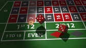 dadi : Red dices falling on casino table in slow motion. Filmati Stock