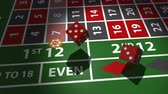 fırsat : Red dices falling on casino table in slow motion. Stok Video
