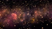 astronomi : Flying through star fields and nebula in deep space. Stok Video