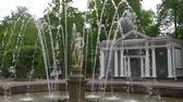 St. Petersburg, Peterhof, Russia, June 2018: Famous Petergof fountains and palaces In St. Petersburg, Russia.
