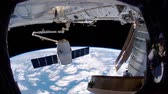 astronomi : International Space Station - Circa May 2019: SpaceX Dragon spacecraft is approaching to the International Space Station. Elements of this video furnished by NASA. ISS 059