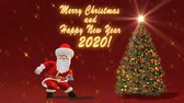 Santa Claus dancing near the Christmas tree. The concept of Christmas and New Year. Seamless Loop.
