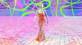 Artificial alien woman robot android in a colorful dress is walking in an abstract fantastic landscape. Artificial intelligence. Fashion of the future. Sci-fi stylish robotic girl. CG animation.
