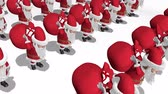 Santa Claus army carries bags of gifts. Merry Christmas and Happy New Year 2020 animation. Seamless loop.