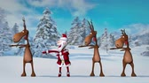 Funny crazy Santa Claus and deers are dancing in the Christmas winter forest. The concept of Christmas and New Year. Seamless Loop.