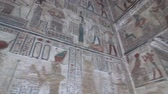 kamień : Interior of Dendera temple or Temple of Hathor. Egypt. Dendera, Denderah, is a small town in Egypt. Dendera Temple complex, one of the best-preserved temple sites from ancient Upper Egypt. Wideo