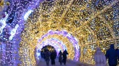 bokeh : The tunnel of glowing lights. Decorating for Christmas