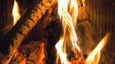 inferno : Wood burning in the fireplace, slow motion, close-up, motion camera