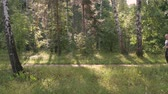 бегун : A middle-aged man, doing sports. He runs around the forest for a healthy lifestyle. Summer sunny day.