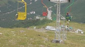 embarque : Chair lift in an empty ski resort in the summer.