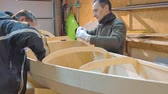 gluing : Two men independently make a boat of wood. They themselves invented the design of the vessel for their travels.