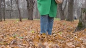 Autumn Womens feet in blue jeans Burgundy boots walk on yellow leaves in Park Stock Footage