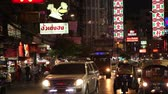BANGKOK, THAILAND -  Dec 15 2018: Cars and shops on Yaowarat road. Chinatown with notable Chinese buildings, restaurants and decoration. Busy Yaowarat Road in the evening Bangkok, Thailand