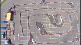 karting : Karting from above - aerial videos Stock Footage