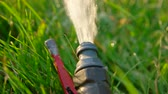 springtime : Watering pipe. Flow of water spill out to  the grass macro clip footage