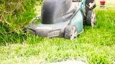 aparando : Astrakhan, Russia, 27 of May 2018: Makita-brand Lawnmower at work. Lawn mower on a lawn gardening Stock Footage