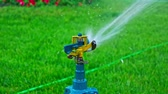 hrubý : Sprinkler system head spreading water over the grass slow motion
