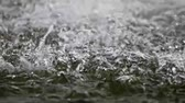 bizakodó : Slow motion of falling water-drops with splashing over water surface macro Stock mozgókép