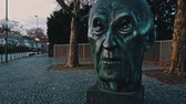 prata : Bonn Germany, 14 Dec 2019: Statue of Konrad Hermann Joseph Adenauer who served as the first Chancellor of the Federal Republic of Germany (West Germany) from 1949 to 1963 dolly shot