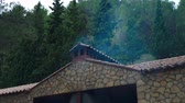 отопление : Smoke from the chimney of a countryside  house on the mountains. Barbecue. Стоковые видеозаписи