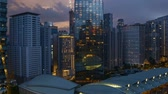 4k UHD time lapse of aerial view sunset day to night at Kuala Lumpur city skyline. Tilt up Dostupné videozáznamy