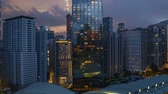 4k UHD time lapse of aerial view sunset day to night at Kuala Lumpur city skyline. Zoom out 動画素材