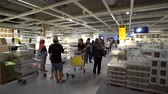 furnished : Damansara, Malaysia - September 1, 2018: 4k UHD b-roll footage of people visiting and shopping at Ikea Malaysia, Damansara branch. Stock Footage