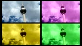 em pé : The television tower of Berlin is one of the most famous landmarks of the capital. Here interpreted  as modern art