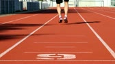 spor : Male sprinter in middle age trains for race competition