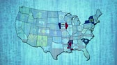 administrativo : Administration map of United States over a digital background with flashing flags of states