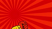 radical : Uprising flat hand fists animation. Fight for your rights patriotic soviet poster style video Stock Footage