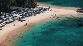 коралловый : Tropical island of Phuket. Ya Nui beach with clear water and fine sand. Set of clips Стоковые видеозаписи