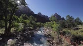muro de pedras : Small river in the Park at sunny day, USA. Hand held clip.