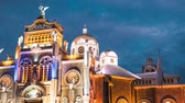 illumination : Time lapse of the Basilica de Nuestra Senora de los Angeles in the city of Cartago, Costa Rica