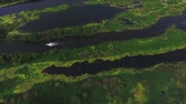 rychlost : Aerial view of the boat moves on the lake. River of Kama, Russia