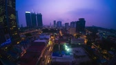 wide angle : Night to day timelapse of the city of Kuala Lumpur. Wide Angle Stock Footage