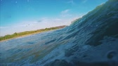 Ocean wave surfing POV with splashes Stok Video