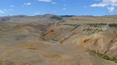 planety : Landscape with deposit of colorful clay in the Altai Mountains or Mars valley, pan view, 4k