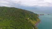 summer : Aerial video of beauty nature landscape with rocks and sea on Koh Lanta island, Thailand