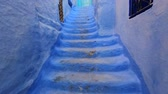 maroc : Blue stairs in old city, Medina of Chefchaouen, Morocco