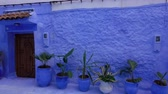 marokkói : Panorama of traditional old blue street inside Medina of Chefchaouen, Morocco