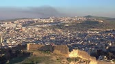 Panorama view of the old Medina in Fes at sunset, Morocco (Fes El Bali Medina), 4k