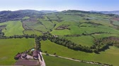 Tuscany aerial landscape of farmland hill country. Italy, Europe, 4k