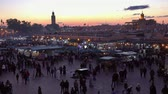 marokkó : Famous Jemaa el Fna square crowded after sunset, Marrakesh, Morocco, 4k