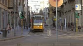 tram : MILAN, ITALY - CIRCA MAY, 2017: Tram in Milan, one of the most popular cities of Milan Stock Footage
